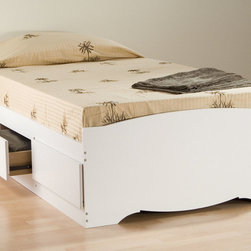 "Prepac - White Twin Mate's Platform Storage Bed with 3 Drawers - The Twin Mate's Platform Storage Bed with 3 Drawers does double duty as a bed and dresser. With three generously sized drawers for keeping your linens, blankets and clothes, this bed provides space-saving storage for even the smallest bedroom. No need for a box spring, either: its slat support system only requires a mattress. Position the drawers on either the right or left side of the bed, depending on the layout of your room, and watch your floor space grow!; Suitable for twin-sized mattresses; Sturdy drawers with solid wood sides glide on metal runners with built-in safety stops; Finger pulls at the bottom of each drawer front for easy opening; Three 18"" deep drawers can be positioned on either side of the bed; Wood slats positioned length-wise distribute body weight evenly to ensure a good night's sleep; Finished in durable fresh white laminate; Constructed from CARB-compliant, laminated composite woods; Ships Ready to Assemble, includes an instruction booklet for easy assembly and has a 5-year manufacturer's limited warranty on parts; Proudly manufactured in North America; Total Weight Capacity: 250 lbs; Dimensions: Assembled Dimensions: 41""W x 18.75""H x 76.5""D; Internal Drawer Dimensions: 21.5""W x 5""H x 18""D"