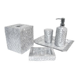 Six Piece Silver Wings Capiz Bathroom Set - Cool and collected with a restrained underwater glitter, the scales of cut capiz shell which overlap to create the Silver Wings Capiz Bathroom Set offer an understated complexity and a dark steel-grey shimmer to your bath which turns the room into a gorgeous space where becoming elegant and chic is a pleasure and not a chore.  Dark nickel fittings complete the pieces' effect, which is perfect for a unisex suite or guest room.