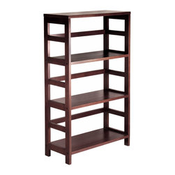 Winsome - 3-Tier Wide Leo Shelf / Storage - Its three sections hold the Espresso Large Storage Basket or two Small Storage Baskets perfectly. Mix and match with the other Espresso Storage Shelves, both narrow and wide.