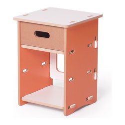 Quark Enterprises - Kids Nightstand, Orange and White - This nightstand would surely stand the test of time with a growing child. It's the perfect size for holding a lamp, a few special keepsakes and a revolving stack of bedtime stories.