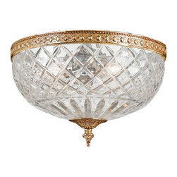 Crystorama - Crystorama Richmond Flush Mount Ceiling Fixture in Olde Brass - Shown in picture: 24% Lead Crystal Flush Mount; This Flush fixture from the Richmond Collection beautifully pairs an Olde Brass plated solid brass frame with a 24% cut crystal bowl - making it a perfect addition to any traditional room in your home.