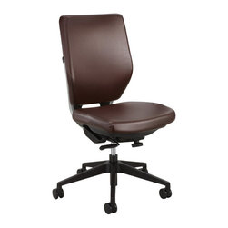 Safco - Safco Sol Task Chair in Brown Vinyl - Safco - Office Chairs - 7065BR - About This Product Sol is comprised of components that were selected to maximize use of recycled materials allowing a great impact indoors and less impact out. It's smart design and it aims to renew more than the working environment. And because nature takes no downtime, we've focused on a chair that helps supports individuals as well as the planet. Sol's beautiful swooping back hugs a Steel frame with sleek metal accents. It features a synchro-tilt mechanism with locking positions and tilt tension control.