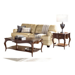 American Drew - American Drew Cherry Grove NG 2-Piece Wood Coffee Table Set in Brown - Cherry Grove New Generation line promises the same timeless quality and appeal with a full line of dining room, bedroom, home office, entertainment and occasional furniture. The line incorporates many elegant curves and graceful movement, and is updated with today? finishes, functionality and style. The inviting Mid tone brown finish makes the cherry veneers pop on each piece, along with Custom designed hardware. This line takes advantage of vertical space with higher case heights, and maximizes the utility of small spaces with hinged drop leaves on servers and tables. In combination, the collection takes functionality to a lifestyle level and allows urban or scaled-down living spaces to become entertainment areas, making small rooms work like big rooms. The New Generation of Cherry Grove is about honoring tradition while staying on trend.