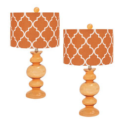 """ecWorld - Urban Designs Solar Orange Glass 26"""" Table Lamp with Shade - Set of 2 - These table lamps are feature a jar clear base with a beautiful stunning trellis patterned shade. Ideal to uplift any room decor."""