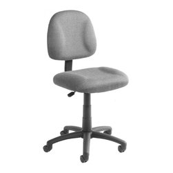 BOSS Chair - Armless Desk Chair In Gray Fabric w Lumbar Su - Increase your workday possibilities with this attractive, affordable chair. It boasts a 5 star nylon base with large dual wheel casters, grey upholstered seat and back, adjustable seat position and an open, armless design. Thick padded seat provides pampered comfort. Back height and depth are fully adjustable. Pneumatic seat height adjustment. Thick padded seat and back with built-in lumbar support. Waterfall seat reduces stress to your legs. 5 star nylon base allows smooth movement and stability. Hooded double wheel casters. Cushion color: Grey. Base/wood: Black. Seat size: 17.5 in. W x 16.5 in. D. Seat height: 18.5 in. -23.5 in. H. Overall dimension: 17.5 in. W x 25 in. D x 35-40 in. H. Weight capacity: 250 lbs