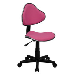 Flash Furniture - Flash Furniture Pink Fabric Ergonomic Task Chair - BT-699-PINK-GG - This attractive task chair features a contoured shaped seat and back with chrome metal band accent. Whether for the kids or for your home office, this chair will be a perfect addition. This chair will be a welcome and personal addition for any home office or home study area. [BT-699-PINK-GG]