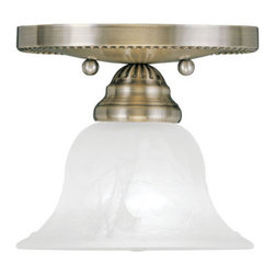 Livex Lighting - Livex Lighting 1530 Edgemont Semi-Flush Ceiling Fixture with 1 Light - Livex Lighting 1530 Edgemont One Light Semi-Flush Ceiling FixtureShowcasing beautiful bell shaped white alabaster glass and decorative canopy, the Edgemont single light bathroom ceiling fixture is the perfect classic design that will complement any décor.Livex Lighting 1530 Features: