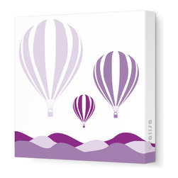 """Avalisa - Things That Go - Hot Air Balloons Stretched Wall Art, 12"""" x 12"""", Purple Hue -"""