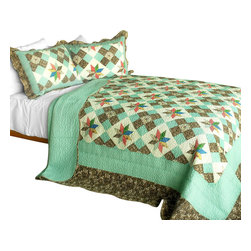 Blancho Bedding - Deep in My Heart 3PC Cotton Contained Patchwork Quilt Set  Full/Queen Size - Set includes a quilt and two quilted shams (one in twin set). Shell and fill are 100% cotton. For convenience, all bedding components are machine washable on cold in the gentle cycle and can be dried on low heat and will last you years. Intricate vermicelli quilting provides a rich surface texture. This vermicelli-quilted quilt set will refresh your bedroom decor instantly, create a cozy and inviting atmosphere and is sure to transform the look of your bedroom or guest room. Dimensions: Full/Queen quilt: 90 inches x 98 inches  Standard sham: 20 inches x 26 inches.