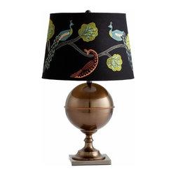 Bronze Table Lamp w/ Peacock Embroidered Shade - *Vanderbilt Lamp