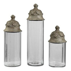 Uttermost - Uttermost 19714 Acorn Glass Cylinder Canisters Set of 3 - Clear glass cylinders topped with textured brown lids with a heavy tan glaze. Not recommended for food storage. Sizes: Sm-6x14x6, Med-6x18x6, Lg-6x21x6