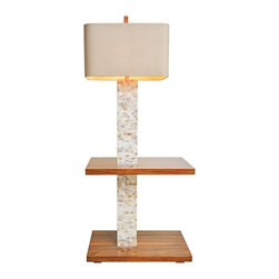 "Lamps Plus - Contemporary Couture Roxbury Mother of Pearl Floor Lamp with Table - This chic mother of pearl lamp is inspired by Mid-Century floor lamps but with the addition of two shelves in high gloss natural wood finish it's also a table lamp. A honey textured linen rectangular hardback shade with rounded corners completes this functional versatile look. Update your home lighting decor with this beautiful and stylish design. Artisan-crafted floor lamp with shelves. Natural mother of pearl tiles. High gloss wood stain. Acacia wood construction. Honey textured linen rectangular shade with rounded corners. Takes one maximum 100 watt or equivalent bulb (not included). Rotary switch. 60"" high. Shade is 19 1/2"" wide and 14"" deep across the top and bottom and 12"" high. Base is 26"" wide and 16"" dep. Top shelf is 21 3/4"" high.   Artisan-crafted floor lamp with shelves.  Natural mother of pearl tiles.  High gloss wood stain.  Acacia wood construction.  Honey textured linen rectangular shade with rounded corners.  Takes one maximum 100 watt or equivalent bulb (not included).  Rotary switch.  60"" high.  Shade is 19 1/2"" wide and 14"" deep across the top and bottom and 12"" high.  Base is 26"" wide and 16"" dep.  Top shelf is 21 3/4"" high."