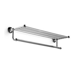 "WS Bath Collections - Venessia 25.6"" Towel Rack - Venessia by WS Bath Collections Towel Rack 25.6 in Polished Chrome, Towel Rack with Hanging Towel Rail, Solid Brass Base, Wall-Mount Installation, Made in Italy"