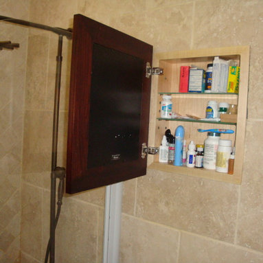 Recessed Picture Frame Medicine Cabinets with No Mirrors - Regular Coffee Bean Concealed Cabinet with white interior from ConcealedCabinet.com.  You insert your own artwork and change it as often as you like!