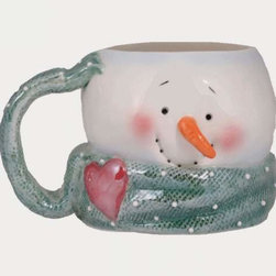 WL - 3.5 Inch White Snowman Handled Mug with Green Scarf and Carrot Nose - This gorgeous 3.5 Inch White Snowman Handled Mug with Green Scarf and Carrot Nose has the finest details and highest quality you will find anywhere! 3.5 Inch White Snowman Handled Mug with Green Scarf and Carrot Nose is truly remarkable.