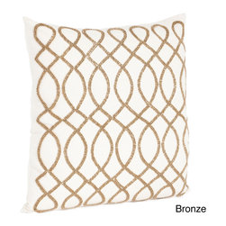 None - Swirl Design Beaded Down Filled Throw Pillow - Complete your contemporary decor with the swirl design beaded throw pillow with removable cover. Constructed from 100-percent cotton and 100-percent down fill,this ultrachic piece features beaded details in your choice of bronze or pewter.