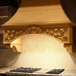 Realm of Design Cast Stone & Pre-Cast architectural elements - cast stone kitchen range hood by Realm of Design