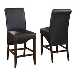 Modus Furniture - Modus Cosmo Sleigh Back Stool in Jet Black (Set of 2) - Modus Furniture - Dining Chairs - 3LP270 -In an industry dominated by varying shades of brown, the Cosmo collection from Modus Furniture is a breath of fresh air. Dining chairs and counter stools are available in an array of textured synthetic leathers to add a splash of color to any dining room. Cosmo chairs are constructed with no-sag seat cushions for extra comfort and 10 bolt grooved corner block construction for easy assembly and long term durability. Counter stools have 4 stretchers for maximum rigidity. Chair legs are built from solid poplar and are an exact match to our best-selling Bossa tables.
