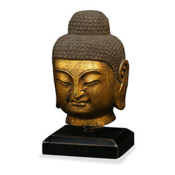 China Furniture and Arts - Hand Crafted Gilded Stone Buddha Head - The Buddha, came to be the most frequently worshipped god in Asia, and is still celebrated today. It is a symbol of unexpected good fortune, happiness and wealth. Completed in gilded stone handcrafting with great attention to detail, the Buddha head stands as a functional piece of art in any room.