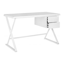 Safavieh - Watkins Desk - The Watkins desk is a refined contemporary take on the classic campaign desk with its white powder coated crossed legs and white lacquer finish. This digital-age interpretation ramps up office storage with two roomy drawers and a clean-cut style.
