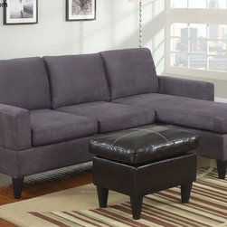 Poundex Furniture - Bobkona All in One Small Sectional Sofa Set - F7285 - Grey - Contemporary/Modern Look