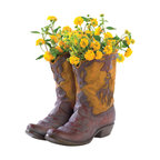 KOOLEKOO - Cowboy Boots Planter - Some boots were made for walking, but this pair is a playful planter that brings a merry spot of greenery to your home on the range. Realistically rustic, right down to the dusty finish, fancy stitching and worn, wrinkled shape!