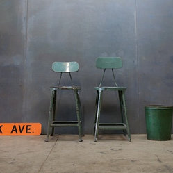 Industrial Green Metal Drafting Stools With Backs