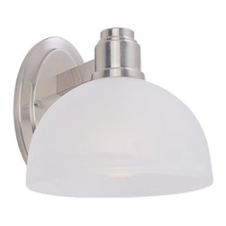 One Light Brushed Nickel White Swirl Glass Bathroom Sconce - With large, bold brushed nickel detailing and a warm glowing white swirl shade, this wall sconce is a testament to modern simplicity.  For added versatility, this fixture can be hung as an up light or a down light.