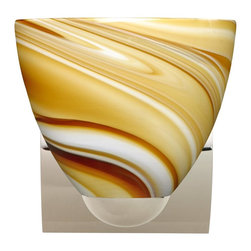 Besa Lighting - Besa Lighting 1WZ-7572HN-CR Sasha II Honey Chrome One Light Wall Sconce - Sasha II has a classical bell shape that complements aesthetic, while also built for optimal illumination. This unique dEcor is handcrafted, with layered swirls of yellow-amber and golden-brown against white, finished to a high gloss. It's classic swirl pattern and high gloss surface has a truly florid gleam. Honey is a hand-blown glass designed to have a shiny and polished finish. The glass is gathered and rolled into shape a unique pattern is formed that cannot be replicated. This blown glass is handcrafted by a skilled artisan, utilizing century-old techniques passed down from generation to generation. Each piece of this dEcor has its own unique artistic nature that can be individually appreciated. The minisconce fixture is equipped with a sleek arcing diecast lampholder and matching radiused rectangular canopy. These stylish and functional luminaries are offered in a beautiful Chrome finish.