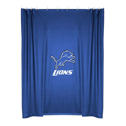 Sports Coverage - NFL Detroit Lions Football Locker Room Shower Curtain - FEATURES: