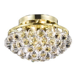 Elegant Lighting - 9805 Corona Collection Gold Finish Royal Cut Crystals Flush Mount - Bubbling ball crystals from the Corona Collection creates a sea of sparkling drops.  Whether used in an entry hall, a dining room or in a powder room, Corona fills a space with drama and creativity.