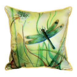 Betsy Drake Interiors - Betsy Drake Betsy's Dragonfly Indoor-Outdoor Pillow - Use Indoors Or Outdoors.  Brightens Up Any Room Or Patio Or Garden. Fade Resitant, Tough And Durable. Spot Clean With Soap And Water.