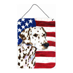 Caroline's Treasures - Usa American Flag With Dalmatian Aluminium Metal Wall Or Door Hanging Prints - Great for inside or outside these Aluminum prints will add a special touch to your kitchen, bath, front door, outdoor patio or any special place.  12 inches by 16 inches and full of color.  This item will take direct sun for a while before it starts to fade.  Rust and Fade resistant.  Aluminum Print with Hanging Rope.  Rounded Corners.