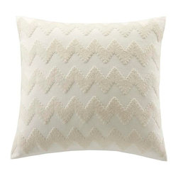 Echo - Echo Mykonos Square Pillow - This bright white decorative pillow has a large zig zag pattern embroidered across is adding dimension to this neautral color. Body: 100% Cotton faux linen fabric, with chain stitching; Filling: 100% poly