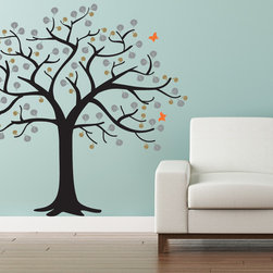 Cherry Walls - Cute Tree Wall Decal - Like a breath of fresh air, this summery tree decal will perk you up and set your mind at ease. Picnic at home under the flitting butterflies and lush leaves soaring overhead. Or, simply place the tree on a wall where it will remind you to take a moment's pause to relax and breathe.