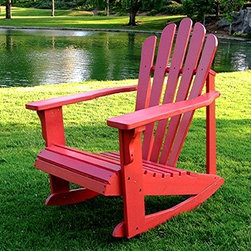 Solid Cedar Adirondack Style Rocking Chair in Red Finish - This rocker with its stylishly flared back is a wonderful twist on the classic Adirondack style.  I love the curvy seat and the super fun color of this perennial favorite.