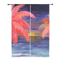 xmarc - Palm Tree Tropical Sheer Curtains, Pink Palms - The windows have it with these sheer, decorative curtains. Romantic and flowing, these elegant chiffon window treatments finish a room with the perfect statement