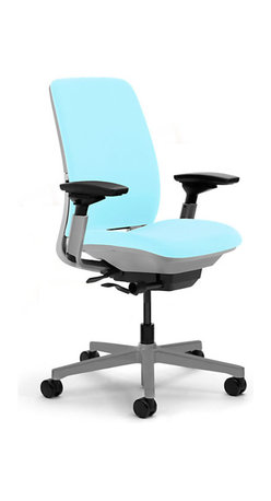 Steelcase - Steelcase Amia Task Chair, Platinum Base w/Arms & Standard Casters, Maya Blue - The Steelcase Amia chair is made for sitting. A chair that is always on task, flexing with your every move to give you consistent ergonomic support all day every day. Tucked away inside Amia's trim backrest is one of its sitting secrets - the patent-pending LiveLumbar, a system of flexors that contour to fit your spine, giving you continuous support as you move in your chair throughout the day. And with Amia's other made-for-comfort features like 4-way adjustable arms, adjustable seat depth and seat height, and a flexible front seat edge, you can create the position that's ideal for you.