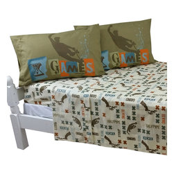 Jay Franco and Sons - X Games Full Bed Sheet Set Extreme Sports Graphix Bedding - FEATURES: