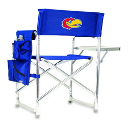 """Picnic Time - University of Kansas Sports Chair in Navy - The Sports Chair by Picnic Time is the ultimate spectator chair! It's a lightweight, portable folding chair with a sturdy aluminum frame that has an adjustable shoulder strap for easy carrying. If you prefer not to use the shoulder strap, the chair also has two sturdy webbing handles that come into view when the chair is folded. The extra-wide seat (19.5"""") is made of durable 600D polyester with padding for extra comfort. The armrests are also padded for optimal comfort. On the side of the chair is a 600D polyester accessories panel that includes a variety of pockets to hold such items as your cell phone, sunglasses, magazines, or a scorekeeper's pad. It also includes an insulated bottled beverage pouch and a zippered security pocket to keep valuables out of plain view. A convenient side table folds out to hold food or drinks (up to 10 lbs.). Maximum weight capacity for the chair is 300 lbs. The Sports Chair makes a perfect gift for those who enjoy spectator sports, RVing, and camping.; College Name: University of Kansas; Mascot: Jayhawks; Decoration: Embroidered; Includes: 1 detachable polyester armrest caddy with a variety of storage pockets designed to hold the accessories you use most"""