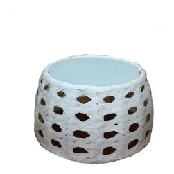 Outdoor Rattan Side Table - Contemporary Outdoor Side Table made of Resin Rattan. UV resistant with aluminum tubing. Glass top is tempered. Goes well between lounge chairs, recliners, rocking chairs, and sofas.
