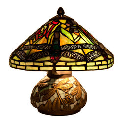River of Goods - Stained Glass 10 Inch High Tiffany Style Yellow Mini Dragonfly Table Lamp with M - Inspired by the Hanging Head Dragonfly lamp originally designed by Louis Comfort Tiffany and Clara Driscoll, this mini version encompasses great detail and lively character. The dragonflies, in addition to the elements of green, orange, and yellow, provoke the serenity and curiosity of nature. The base is detailed with dragonflies and mosaic glass pieces. The dragonfly wings are adorned with a metal filigree.  Requires two 25W bulbs (not included). UL approved.  2 prong plug.