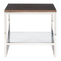 Vanguard - Wellwood Lamp Table - Give your space a modern makeover with this streamlined end table. Use the broad expanse of walnut on top to hold a lamp or display a piece of sculpture, and the glass shelf for a stack of books.