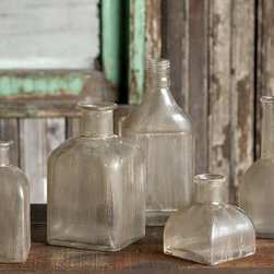 Aged Bottle Collection, Set of 5 - This collection styled after vintage bottles, from an ink well to an apothecary jar, will add depth to your shelf or windowsill. The aged look to them looks like you just unearthed them.