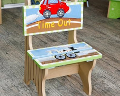 Teamson Design Transportation Time Out Chair - You don't want to make time out too fun, but how could it not be a little fun in the Teamson Design Transportation Time Out Chair? Teamson keeps it pretty simple in honor of the serious nature of time out, but you have to admit the whimsical illustrations that match the rest of the Teamson transportation suite are adorable. That's not all bad. It might help keep your toddler in the chair when he or she is supposed to be there. The beautiful hand-painted details and hand-carved chair back make the chair a fine addition to your kitchen, living room, bedroom or playroom - wherever time out takes place in your home. Made of sturdy MDF board, the time out chair will last through many children, and we won't be surprised if you can reuse it for your grandchildren. Some assembly required. Should grandparents really give grandchildren time outs? We'll leave that debate up to you, but if you decide you are that kind of grandparent, your grandkids won't hate you too much for making them sit in such a cool chair.The Benefits of MDF/Engineered WoodMDF is made of wood fibers and is highly compressed with adhesive. It's denser than particle board, and the surface is very smooth. MDF board is extremely strong and resistant to warping, and it's easy to cut, drill, and machine. It is used in the manufacture of furniture and accessories for schools, homes and offices. MDF is so strong that it's included in the construction of desks, high quality marker boards, work surfaces, pillars, and other products. MDF often is covered by laminates or veneers. It provides a sturdy substrate that supports the surface material and increases its longevity. MDF can be painted, stained, and/or grain-stamped to look like hard woods. Best of all, MDF saves money and can be good for the environment. By using recovered wood fiber, MDF contributes to reducing landfills, slowing deforestation and preserving habitats. Overall, MDF is an excellent value and a fine furniture material.About Teamson DesignBased in Edgewoood, N.Y., Teamson Design Corporation is a wholesale gift and furniture company that specializes in handmade and hand-painted kid-themed furniture collections and occasional home accents. In business since 1997, Teamson continues to inspire homes with creative and colorful furniture.