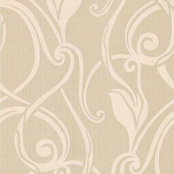 Graham & Brown - Muse Wallpaper - An elegant tulip design using large areas of open space combined with a soft stripe. The contrasting gold and cream colors of this wallpaper create an effective feature wall effect.