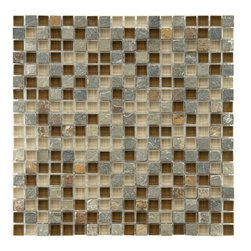 Somertile - Somertile Reflections Mini-Brixton Stone and Glass Mosaic Tiles (Pack of 10) - These Somertile mosaic tiles are perfect for your bath, backsplash and kitchen. A fascinating mix of tan and brown glass accents these multicolored slate tile sheets.