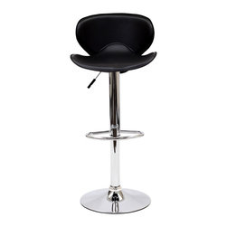LexMod - Booster Bar Stool in Black - The Booster Bar Stool is a great choice for folks who want a bar stool with the comfort of an ergonomic shape. The seat is as comfortable as the back is supportive and the winged design makes this stool stand apart from the rest.