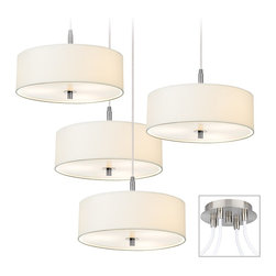 "Possini Euro Design - White Drum Brushed Nickel 4-Light Multi Light Pendant - Multi swag chandeliers let you add designer lighting to any room. The special swag canopy installs into any ceiling junction box just like a normal ceiling light or chandelier. Install standoffs in the ceiling and swag the cord lines to the canopy; adjust the hanging length as desired. With the hanging options you can get the exact look and light placement you need. This version features a brushed nickel finish 4 swag canopy. Arrange the four white fabric drum pendants as needed. The pendants come with acrylic diffusers for soft illumination. Takes a total of twelve 60 watt bulbs (not included). Each pendant is 16"" wide 5 1/2"" high. 9"" wide canopy.  Multi swag chandelier.  Brushed nickel finish canopy.  With special canopy adaptor.  Installs into any ceiling junction box.  Includes ceiling anchors.  With four standoff ceiling mounts.  White drum pendants.  12-foot cord on each.  A large chandelier ideal for oversized rooms.  Takes a total of twelve 60 watt bulbs (not included).  Each pendant is 16"" wide 5 1/2"" high.  Canopy is 6"" wide."