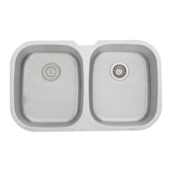 """TCS Home Supplies - 34 Inch Stainless Steel Undermount 50/50 Double Bowl Kitchen Sink - 16 Gauge - Premium 16 Gauge Stainless Steel Kitchen Sink.  D-Bowl with Small Garbage Disposal Side Bowl.  Undermount Installation.  Brushed Stainless Steel Finish.  Dimensions 34-3/4"""" x 20-3/4"""" x 9"""" 